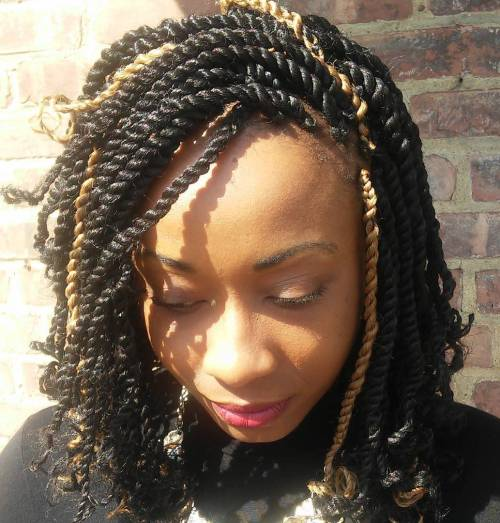 Kinky Twists Bob With Highlights