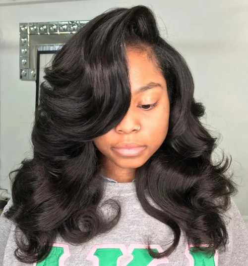 Long Curly Side-Parted Weave