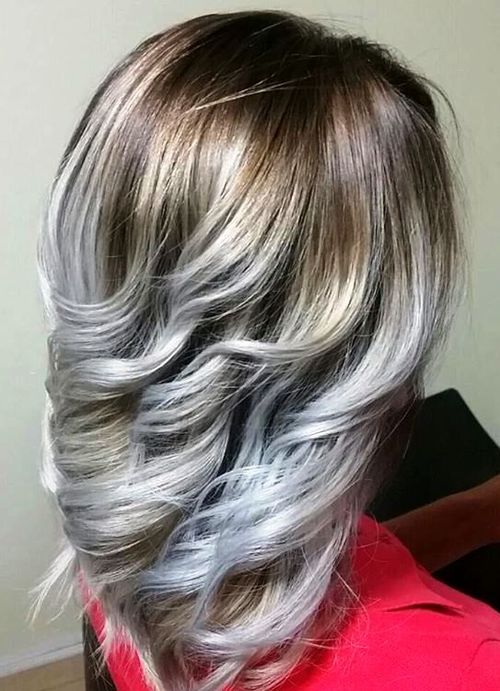 40 Blonde Balayage Looks: 40 Ideas Of Gray And Silver Highlights On Brown Hair
