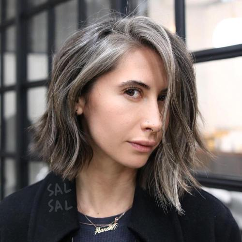 45 ideas of gray and silver highlights on brown hair brown and gray choppy bob solutioingenieria Image collections