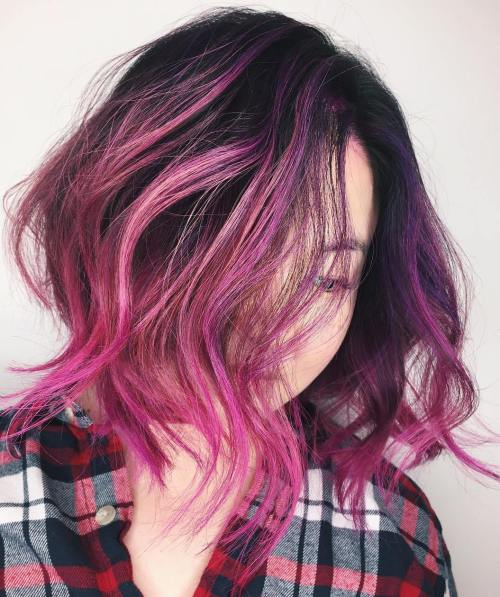 magenta balayage for black hair