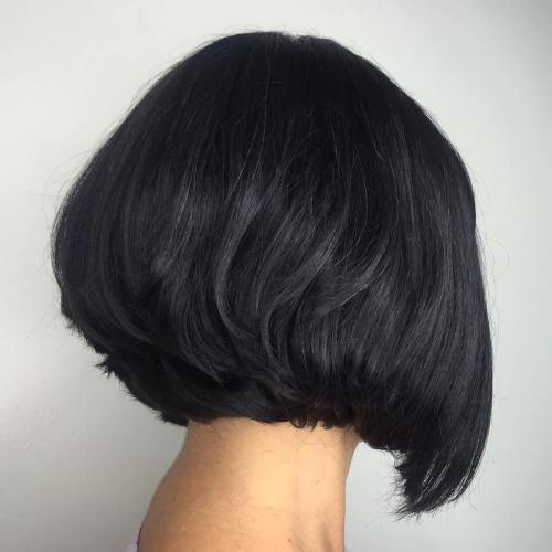 Short Black Stacked Bob