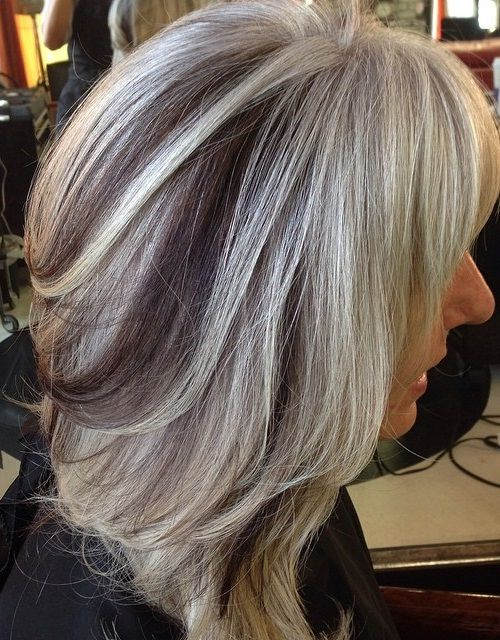 ash blonde hair with black lowlights
