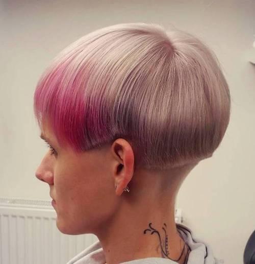 short flaxen blonde hair with pink balayage