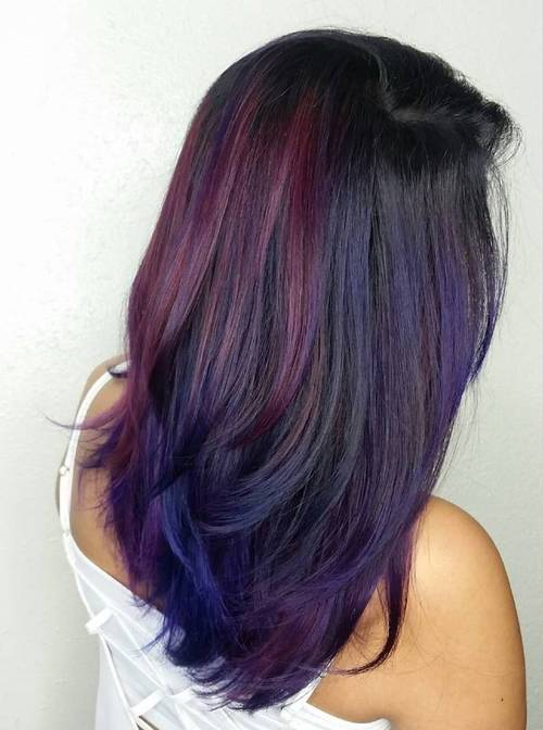 black hair with burgundy and blue balayage