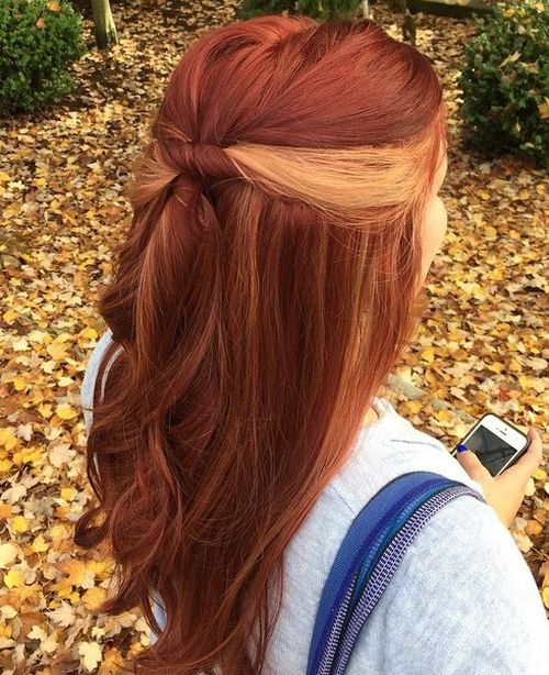40 ideas of peek a boo highlights for any hair color copper red hair with blonde peek a boo highlights pmusecretfo Gallery