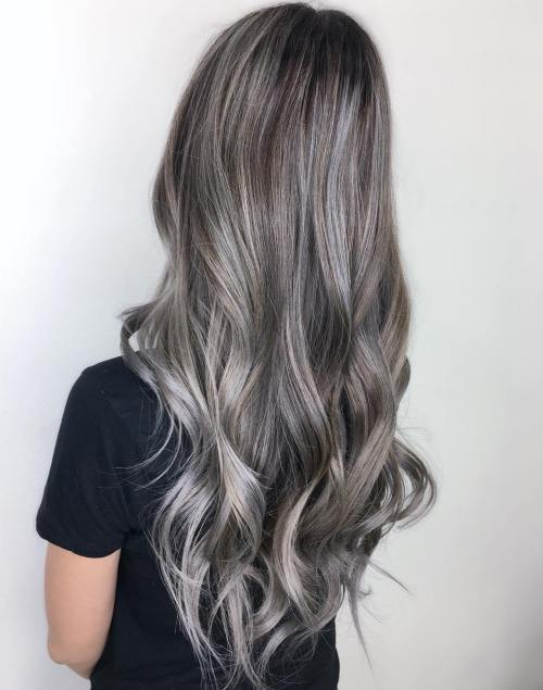 Long Silver Balayage Brown Hair