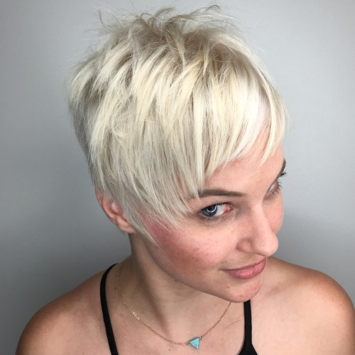 Spiky Platinum Pixie Hairstyle