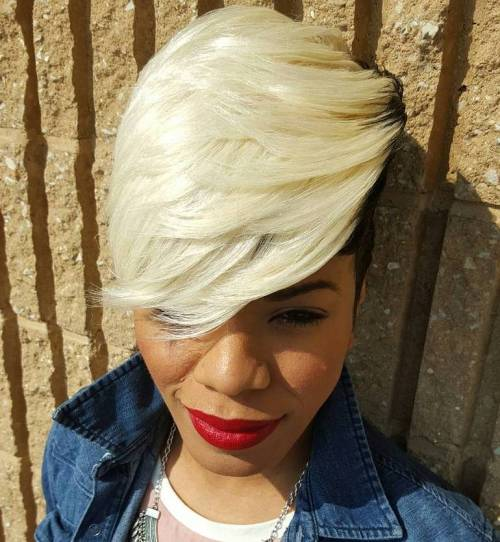 Black And Blonde Layered Pixie Weave