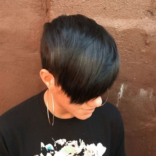 black pixie haircut with bangs