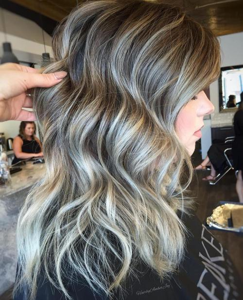 45 ideas of gray and silver highlights on brown hair brown wavy hairstyle with gray highlights solutioingenieria