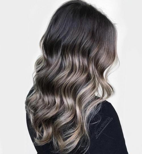 Brunette Hair With Subtle Ash Bronde Balayage