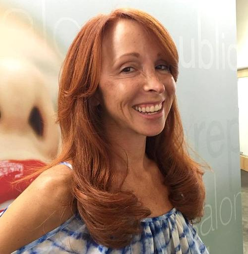 long red hairstyle for older women