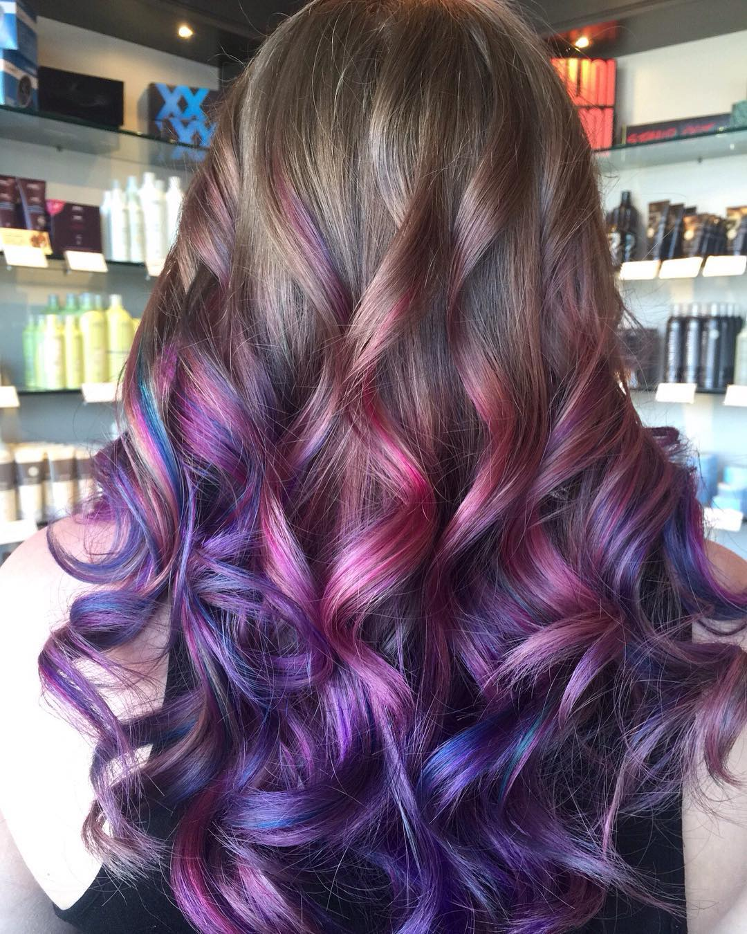 Fashion style Blonde and purple hairstyles for lady