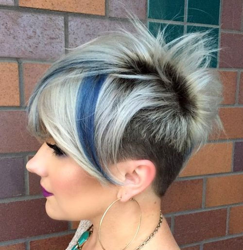 20 edgy ways to jazz up your short hair with highlights funky blonde pixie with dark roots and blue highlights pmusecretfo Images