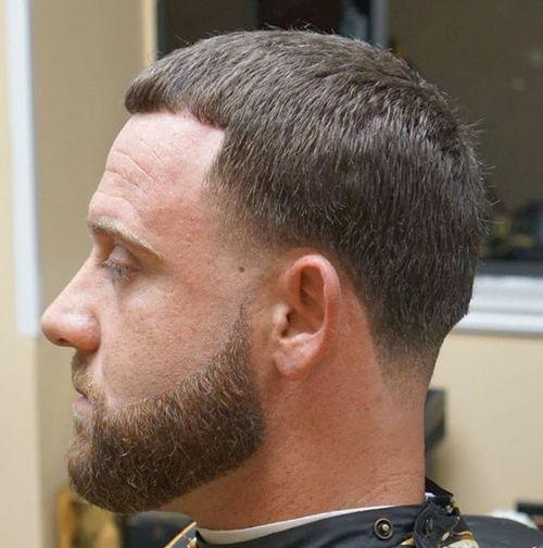 Caesar Haircut and facial hairstyle