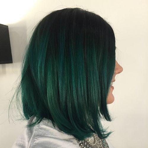 black to green ombre bob