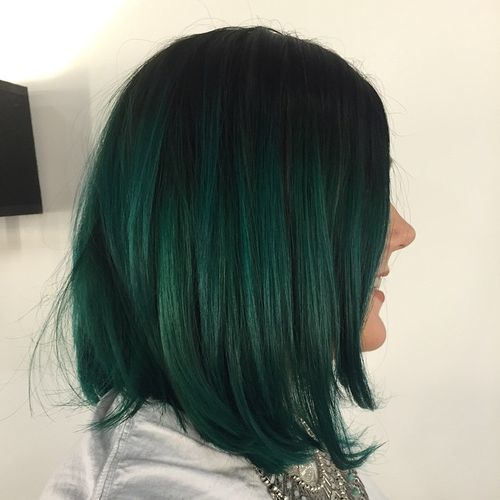 black to green ombre bob