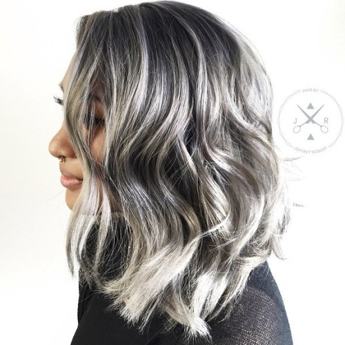 Medium Black Hair With Silver Highlights