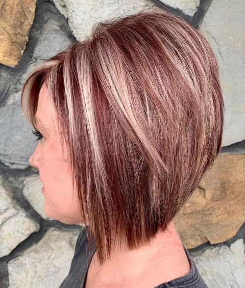 Long Stacked Auburn Bob With Blonde Highlights