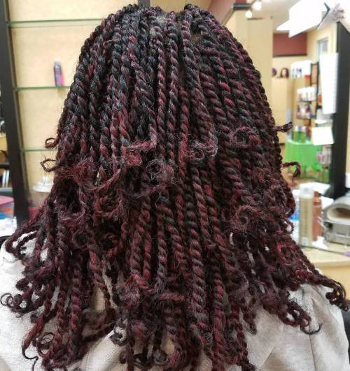 Black Kinky Twists With Burgundy Highlights