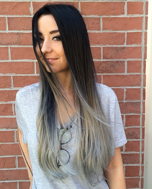 black to gray long straight ombre hair