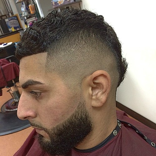 high fade curly mohawk