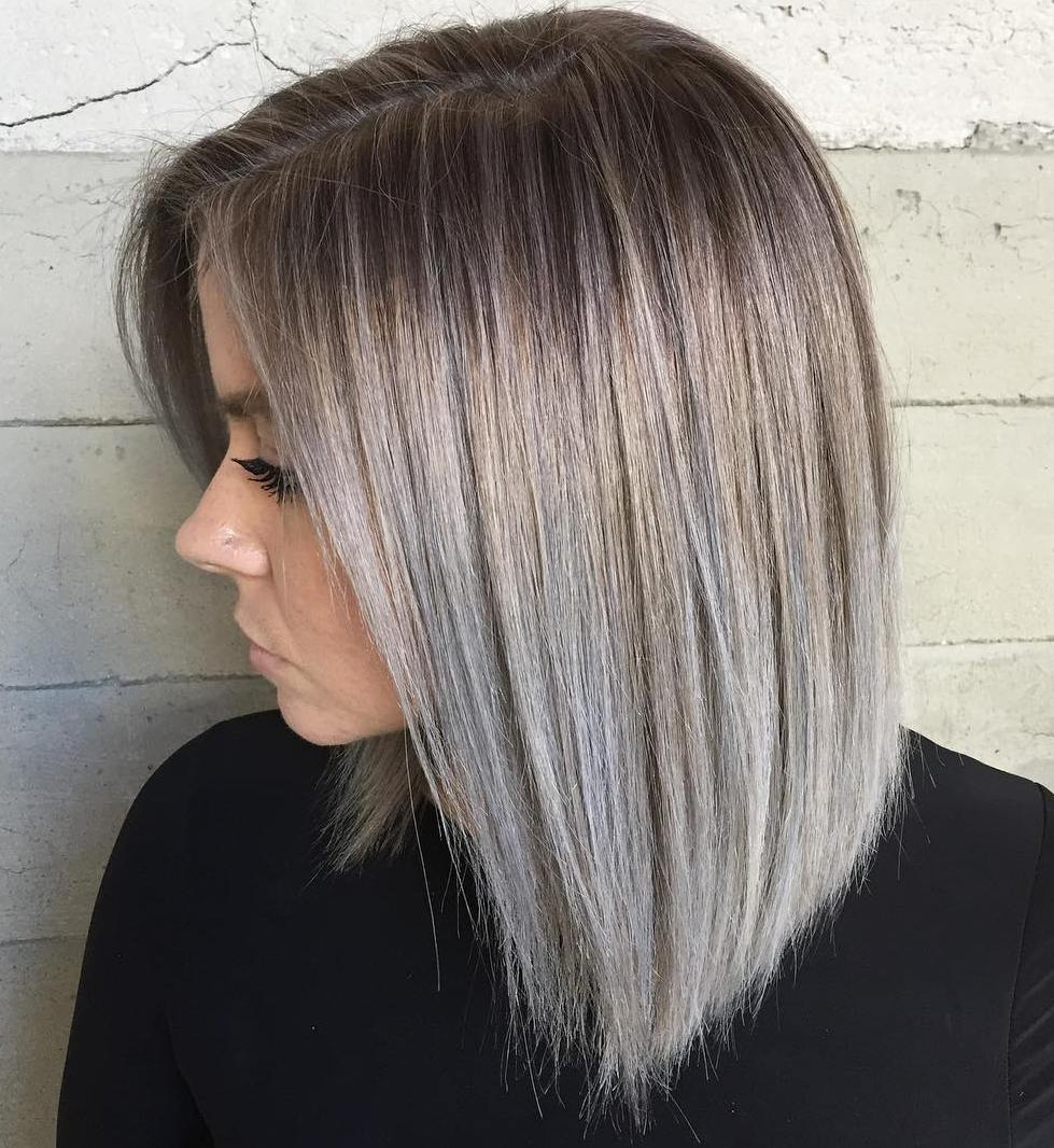 Silver blonde long bob