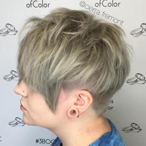 Ash Blonde Pixie Undercut