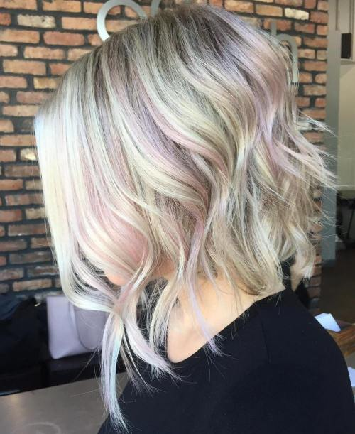 blonde bob with light pink highlights