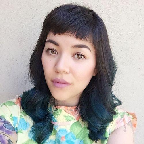 blue balayage for black hair