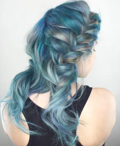 Gimme the blues bold blue highlight hairstyles blonde and blue hairstyle with two braids urmus Choice Image