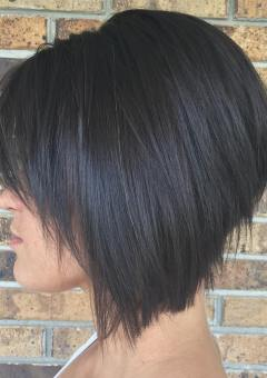 brunette angled stacked bob for straight hair