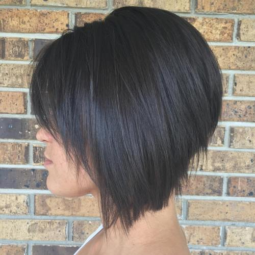 Stacked Bob Hairstyle short stacked bob haircut by debbie at encounters salon haircut short hair Brunette Angled Stacked Bob For Straight Hair