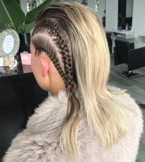 Medium Hairstyle With Side Braids