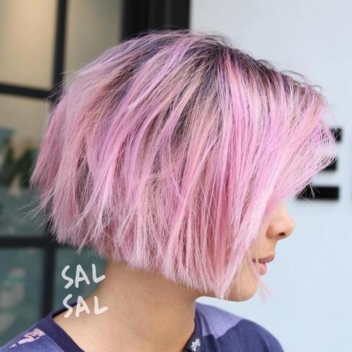 pastel pink highlights for brown hair