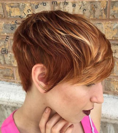 short red hair with blonde ombre highlights