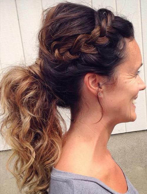 side braid and curly pony hairstyle for women over 40