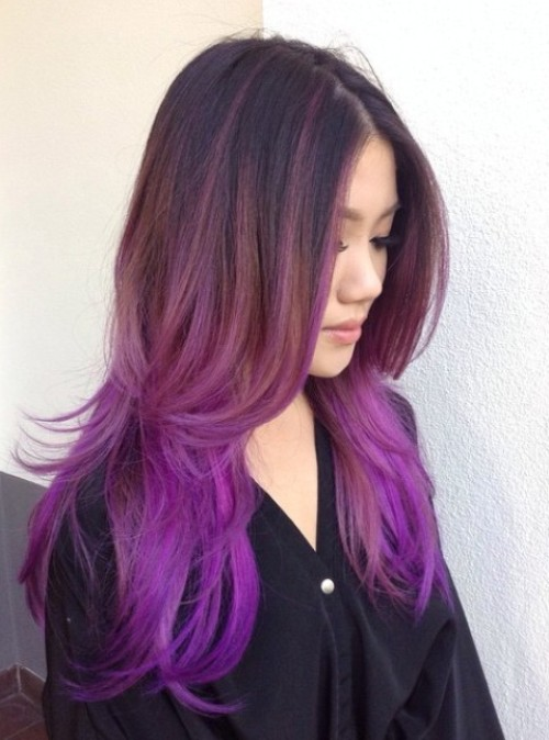 40 versatile ideas of purple highlights for blonde brown and red hair brown to lilac ombre hair pmusecretfo Images