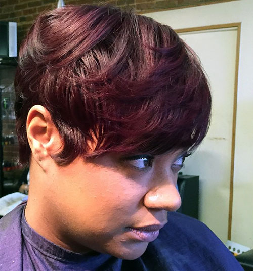long pixie haircut for black women