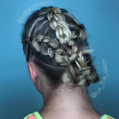 side braids and a bun quick easy updo for gym