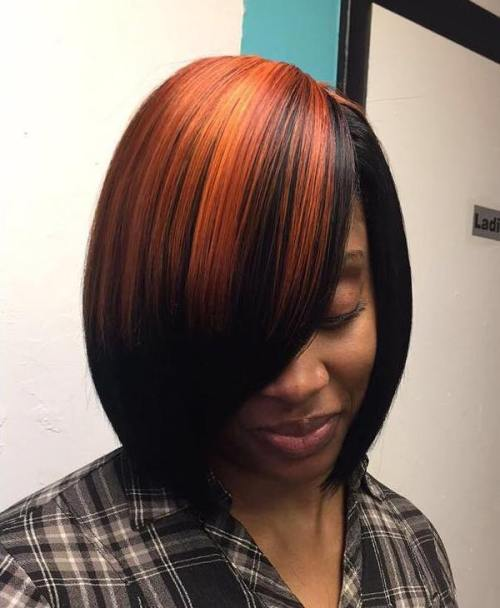 Side-Parted Black And Copper Bob