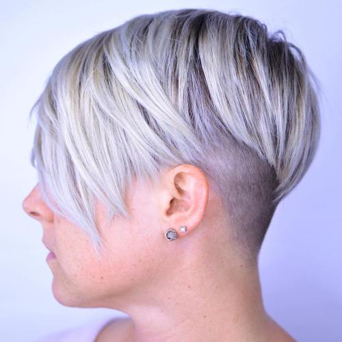 short platinum blonde and purple hairstyle
