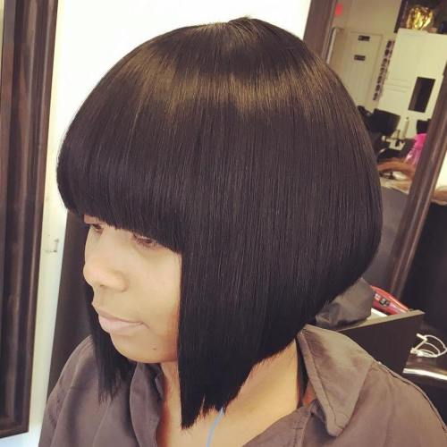 bob with straight bangs sew-in
