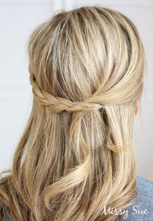 easy half up half down braided hairstyle