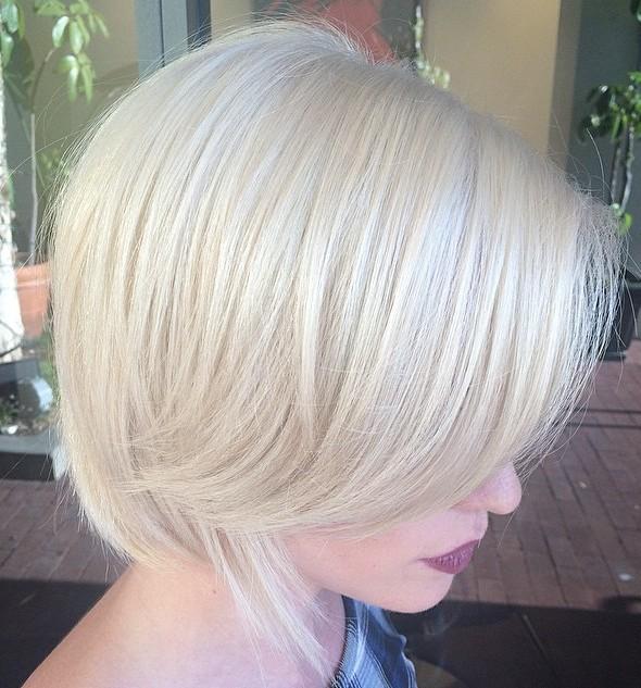 short platinum blonde bob