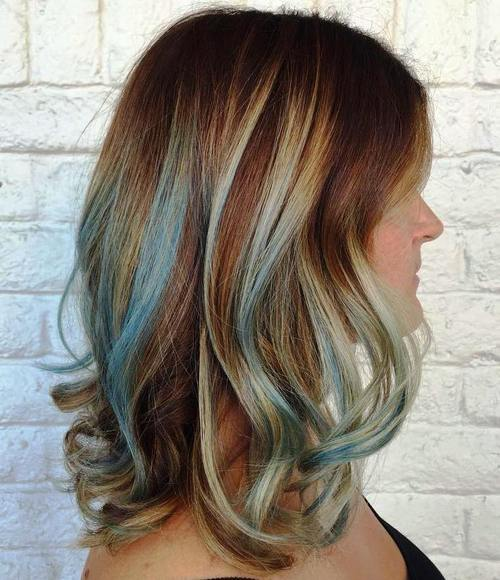 Gimme the blues bold blue highlight hairstyles medium brown hairstyle with pastel blue highlights pmusecretfo Choice Image
