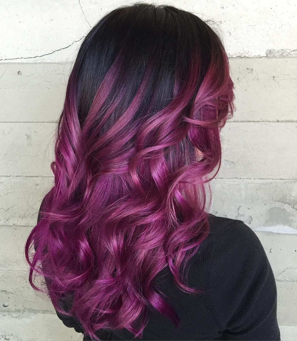 40 versatile ideas of purple highlights for blonde brown and red hair violet balayage for black hair pmusecretfo Choice Image