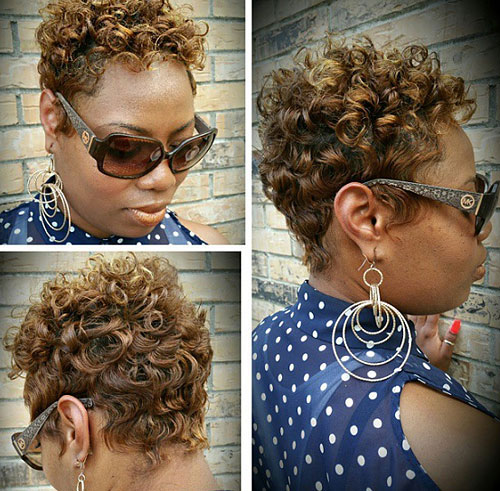 African American short curly golden brown hairstyle