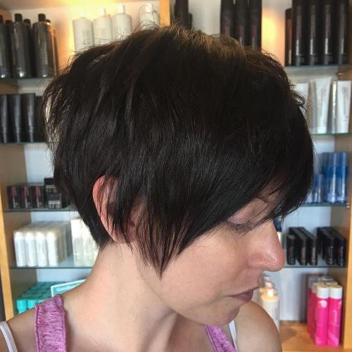 dark brown layered pixie haircut